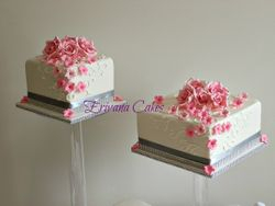 Pink and white wedding cake