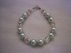 Mint glass pearls & crystal