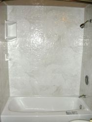 After: Silver White Marble Slate, new tub liner