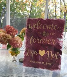 Wedding Welcome Sign on acrylic