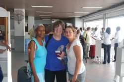 Annette, Jan and Ann at the airport