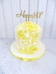 80th Birthday Buttercream Drip Cake