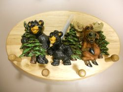 Rick Rowley Art Bear Moose Wood Carving