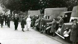 Queen Mary inspecting new YMCA Tea Vans