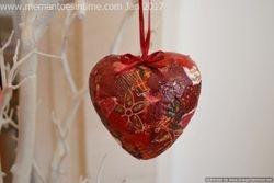 Paper Scrap Polystyrene Heart Ornament