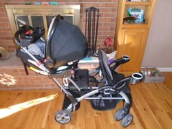 Baby Trend Sit N Stand Deluxe Stroller with Graco Car Seat and Base- Rockridge - $110