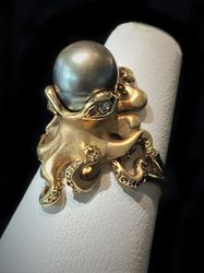 14k tahitian pearl octopus ring