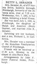 Shrader, Betty L. Soyster - Part 1 - 1981