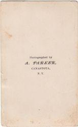 A. Parker, photographer of Canastota, NY - back