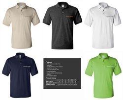 Polo Shirts.   Top: Sand, Dark Heather, White.  Bottom: Navy Blue, Lime Green.   Silk-Screen Logo - DryBlend Fabric 50/50 - 3-Button Placket - Knitted Collar/Cuffs