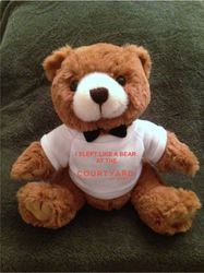 """Teddy Bears, Plush. - """"I SLEPT LIKE A BEAR AT THE COURTYARD"""" - 9"""" Tall.  Makes a special gift"""