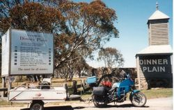 Tom's K75RT & Camper Trailer at Dinner Plain Vic on the way to 1996 AGM Hobart - Feb 1996