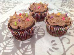 Dino's roaming free...-Caramel filled chocolate cupcakes with salted caramel and chocolate frosting!