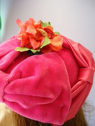 Vintage Pink Velvet Pill Box Style with Floral Close Up