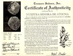 Mel Fisher Certificate of Authenticity