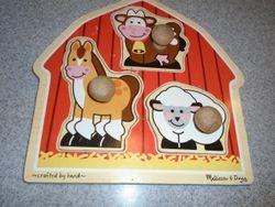 Melissa & Doug Barnyard Jumbo Knob Puzzle - $8