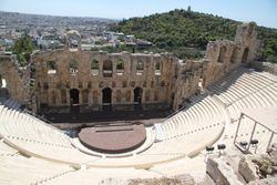 One of the main ampitheatres which has now been renovated to take shows etc up at the Acropolis