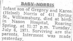 Norris, Infant 1971