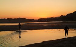 Splashing around at sunset