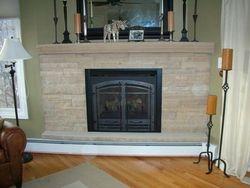 Drystack buff sandstone  fireplace Lyons Boulder Colorado