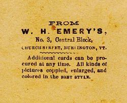 W. H. Emery of Burlington, Vermont - back