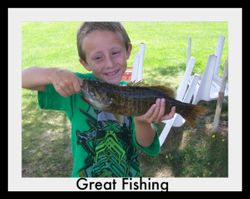 Kids catch fish off the dock