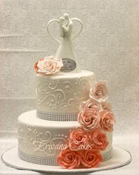 Coral and White wedding cake