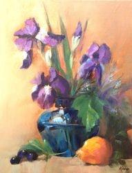 Iris in Blue Vase
