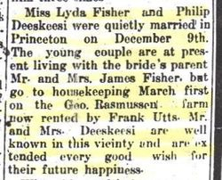 Marriage Announcement for Lydia Fisher & Philip DeSkeere