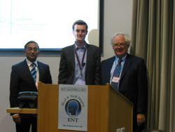 Christian Flynn (Centre) wins the ENT Masterclass/ENT News Trainees' silver medal
