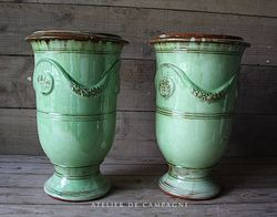 #29/186 FRENCH ANDUZR TALL GREEN PLANTERS