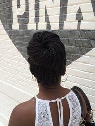 Box braid with bun