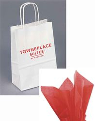 "Gift Bags with Rope Handle - Reflective foil-stamped TownePlace Suites logo - Includes RED tissue paper with every gift bag! - 8.25""H x 5.00""W x 3.50"""