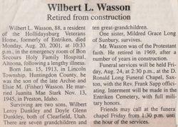 Wasson, Wilbert L. 2001