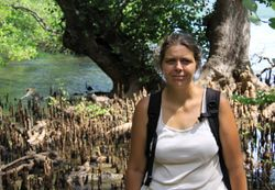 Noëlle Gunst in the Teluk Terima mangrove (West Bali National Park, May 2010) ... with 2 long-tailed macaques in the background (can you spot them?)