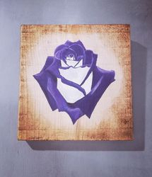 Hand painted rose on reclaimed wood