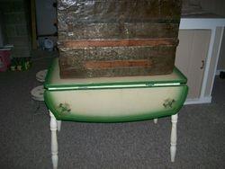 vintage enamel top table, antique wooden trunk