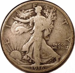 1916 Walking Liberty Half DollarVG Obverse