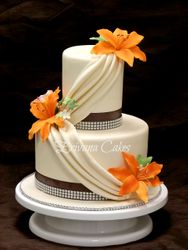 Orange and Ivory wedding cake