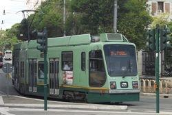 Socimi Low Floor Car #9027 entering Via Flaminia, from Via D A Azuni, 11/09/13