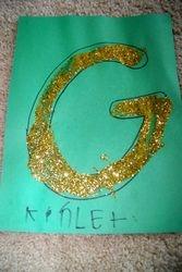 Gold glitter on green