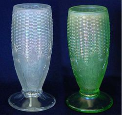 Corn vase, plain base, white, and ice green