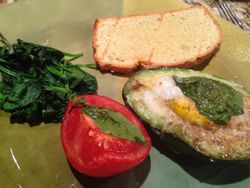 Egg Baked in Avocado with Tomato, Basil and Almond Flour Toast
