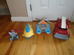 Green Toys Fire Engine, Sea Copter, Airplane & Submarine - $40