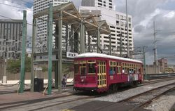 """Streetcar #457 at stop no. 6 """"Canal Street"""" on the Riverfront Line."""