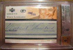 Vince Lombardi 2001 Upper Deck Rookie F/X Legenday Cuts Autograph Card