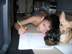 Isaiah, my grandson, with his Chihuahua and a Yorkie puppy