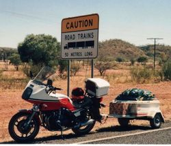 Tom's XJ900 on the Highway just north of Mt Isa on the way to 1994 AGM at Alice Springs - April 1994