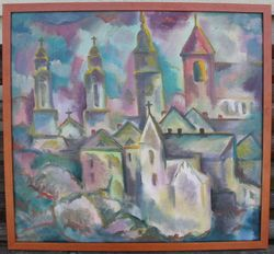Pranciskus Porutis. Drobe, aliejus. Kauno senamiescio panorama. Kaina 620