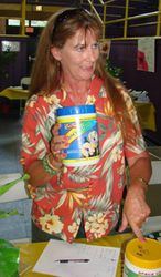 Theresa Gore selling fertilizer to customers